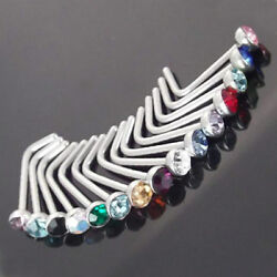 Classy Comfortable 20G L Shaped Crystal Stainless Nose Rings Body Jewelry New