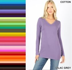 Womens T Shirt V Neck Long Sleeve Zenana Cotton Basic Plain Stretch Top S M L XL $10.95