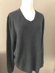 NWT Top Nordstrom 100% Cashmere; Dk Charcoal Slimming Deep Vneck Sweater; L-XXL