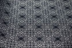 Navy Blue Paisley 6oz. Duck Print Fabric Upholstery Drapery Cotton Poly 60