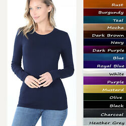 Basic Plain Solid Long Sleeve T Shirt Crew Neck Round Neck Stretch Cotton Tee $6.99
