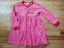 NWT Hanna Andersson RED PINK DOT Day Dress PlayDress  110 4 5 6 NEW