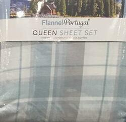 NEW Luxury Portugal Flannel 4-Piece Queen Sheet Set Made of 100% USA Cotton (Pl