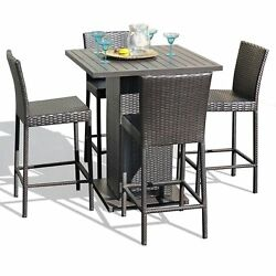 Napa Pub Table Set With Barstools 5 Piece Outdoor Wicker Patio Furniture