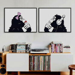 Modern Black White Gorilla Music Posters Home Decor Wall Art Canvas Oil Painting $9.24