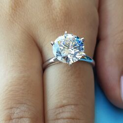 4.65 ct round cut 14K white gold diamond engagement ring H SI2 CERTIFIED