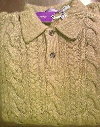 XXL Purple Label Ralph Lauren 100% cablekni cashmere wool sweater polo rugby 2xl