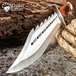15quot; Wood Full Tang Fixed Blade Bowie Knife w Sheath Rambo Hunting Survival $25.98