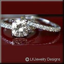 3.70 CT MOISSANITE CUSHION FOREVER ONE GHI MICRO PAVE WEDDING SET RINGS