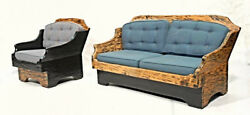 RARE RUSTIC COUNTRY SET Couch Lounge Chair Sofa Chaise Armchair Loveseat Chaise
