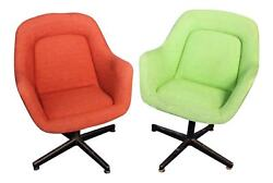 Vintage Pair 2 KNOLL Mid Century Modern Lounge Club Office Chairs Armchairs