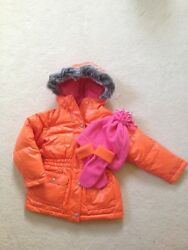 HANNA ANDERSSON Girl's Orange Pink Down Puffer COAT Size 110 (5-6) NWOT