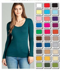 Womens T Shirt Scoop Long Sleeve Active Basic Stretch Light Weight Top SML