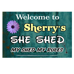 Personalized She Shed Sign - Teal - ADD NAME FOR FREE