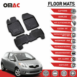 Floor Mats Liner 3D Molded Black Set Fits Toyota Yaris 2007 2011 $59.42