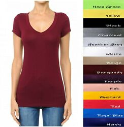 V Neck Short Sleeve T Shirt Basic Plain Solid Top Stretchy Cotton Tee Ambiance $9.99