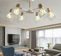 Wooden Chandelier For Living Room Iron Lampshade LED Lighting Modern Decorations $323.98