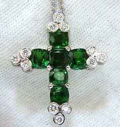 7.42CT NATURAL VIVID GREEN TSAVORITE DIAMONDS CROSS PENDANT 14KT+