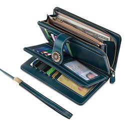 UMODE Vintage Style Genuine Leather Large Capacity Wallet Organizer for Women (G