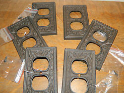 Set 6 Fluer De Lis French Cast Iron Wall Electric Plug Double Outlet Cover Plate $31.90