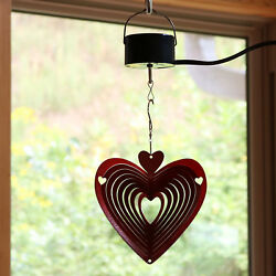 Sunnydaze Whirligig Heart Wind Spinner with Electric Operated Motor - 6-Inch