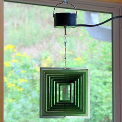 Sunnydaze Green Square 3D Wind Spinner with Electric Operated Motor - 12-Inch