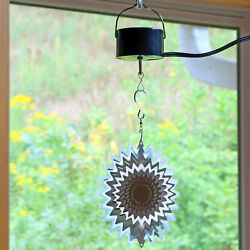 Sunnydaze Silver Star Wind Spinner with Electric Operated Motor - 6-Inch