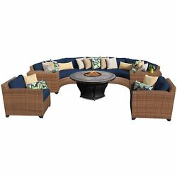 Outdoor Home Bayou Outdoor Patio Rounded Wicker Sectional with Armchairs and