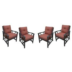 Four Lunar Deep Seat Rocking Chairs with Aluminum Frames and Thick Red Cushions