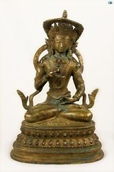 Antique 1800s Asian Chinese Sitting Buddha Gilded Bronze Statue Celestial Scarf