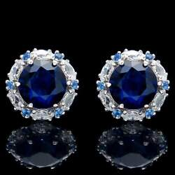 1.92 CT Blue Sapphire Halo Marquise Created Diamond Earrings 14k White Gold