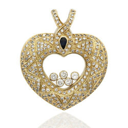Pave Diamond Heart Pendant in 18K Yellow Gold with Floating Diamonds  FJ
