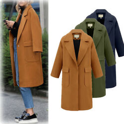 Womens Winter Lapel Wool Coat Trench Jacket Big Pockets Outwear Comfort Zsell