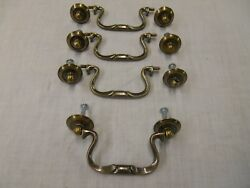 4 NOS Antique Brass Swan Neck Drop Bail Drawer Pull Handles wscrews 3-12