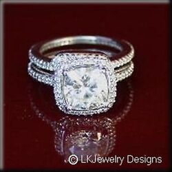4.45 Ct MOISSANITE CUSHION FOREVER ONE GHI  HALO ANTIQUE BAND WEDDING SET RING