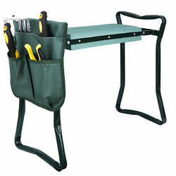 Foldable Kneeler Garden Kneeling Bench Stool Soft Cushion Seat Pad w Tool Pouch $26.99