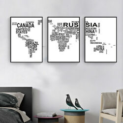 Abstract Text Map of the World Canvas Poster Art Prints Wall Painting Home Decor $11.99