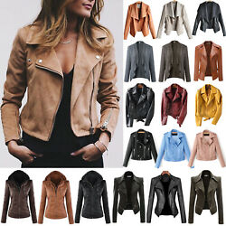 Women's Faux Leather Zip Up Bomber Jacket Biker Coat Casual Flight Outwear