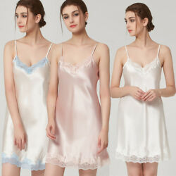 Hot Real Silk Women's Strap Sleepwear Sexy Nightgown Night Dress Robe Nightwear