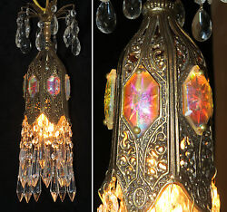 Jeweled Tulip lily SWAG Crystal lamp chandelier Vintage brass Aurora Borealis $155.00