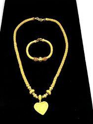 9999 24K Solid Yellow Gold Necklace With Heart Pendant And Bracelet 127.5gm