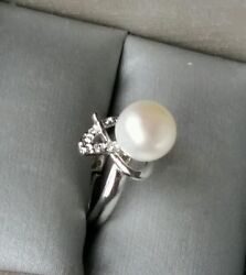 Adjustable Button Shape Real Freshwater Pearl Sterling Silver Plated Ring $6.49
