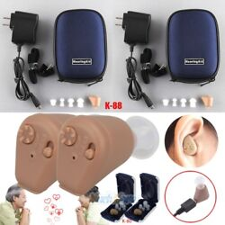 2Packs Rechargeable Digital Hearing Aids Mini In Ear Adjustable Tone Amplifier $24.99