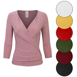 KOGMO Women#x27;s 3 4 Sleeve Side Wrap Ruched Shirred Slim Fit V neck Top Shirts $15.99