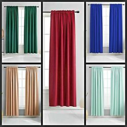 2PC FAUX SILK PANELS SHEER LIGHT FILTERING WINDOW CURTAIN MIX COLOR NEW ANYY $10.00