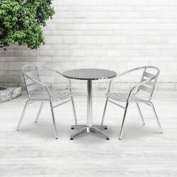 Aluminum Commercial Indoor Outdoor Restaurant Stack Chair with Triple Slat Back