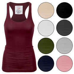 KOGMO Womens Basic Cotton Ribbed Knit Racerback Tank Top 1 Pack or 3 Pack S XL $15.99