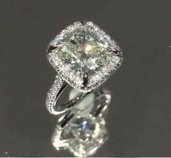 Certified Forever 3.50ct Cushion Diamond Unique Wedding Ring 14K White Gold