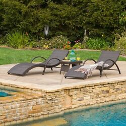 Acapulco Outdoor 3-piece Wicker Folding Armed Chaise Lounge Set by Christopher