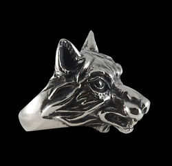 silver she wolf ring custom sized handmade animal dog leader pack r-183s